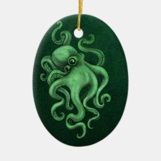 Worn Vintage Octopus Illustration - Green Ornaments