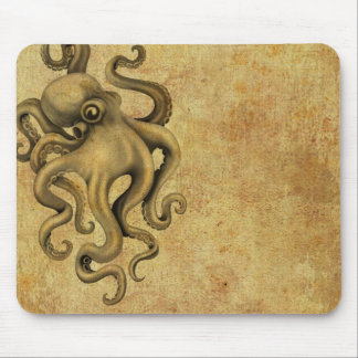 Worn Vintage Octopus Illustration Mouse Pad