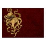 Worn Vintage Octopus Illustration on Red Business Card