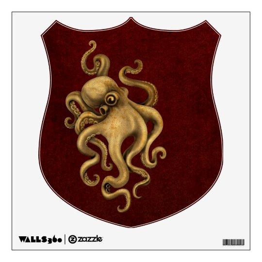 Worn Vintage Octopus Illustration on Red Wall Sticker