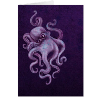Worn Vintage Octopus Illustration - Purple Greeting Card