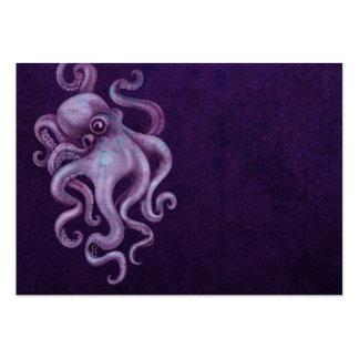 Worn Vintage Octopus Illustration - Purple Large Business Card