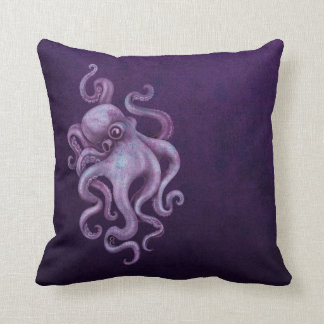 Worn Vintage Octopus Illustration - Purple Pillows