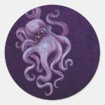 Worn Vintage Octopus Illustration - Purple Round Stickers