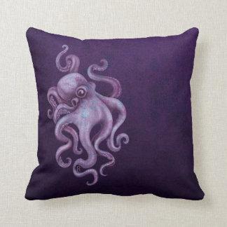 Worn Vintage Octopus Illustration - Purple Throw Pillow