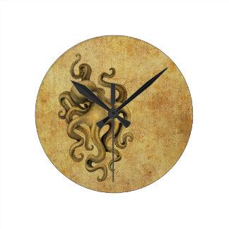 Worn Vintage Octopus Illustration Round Clock