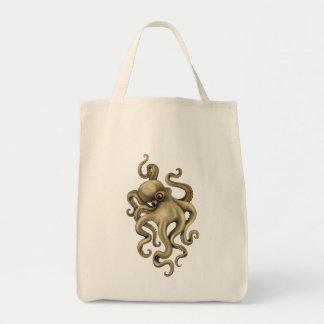 Worn Vintage Octopus Illustration Tote Bag