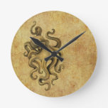 Worn Vintage Octopus Illustration Wall Clocks