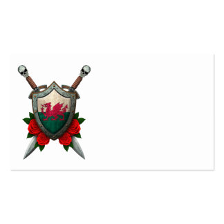 Worn Welsh Flag Shield and Swords with Roses Business Cards
