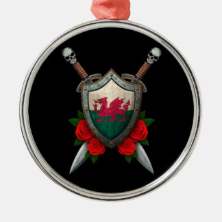 Worn Welsh Flag Shield and Swords with Roses Round Metal Christmas Ornament