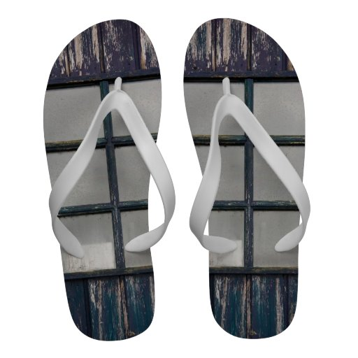 Worn wooden window Flip-Flops