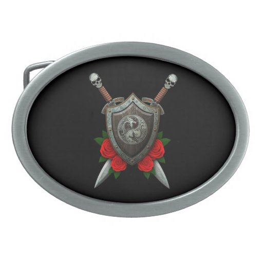 Worn Yin Yang Dragons Shield and Swords with Roses Oval Belt Buckles