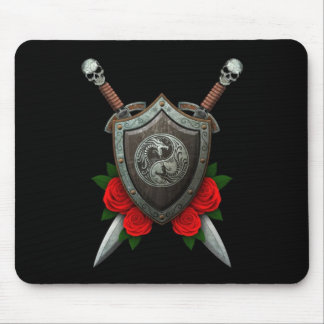 Worn Yin Yang Dragons Shield and Swords with Roses Mouse Pad