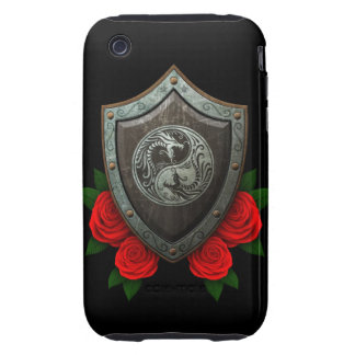 Worn Yin Yang Dragons Shield with Red Roses Tough iPhone 3 Case