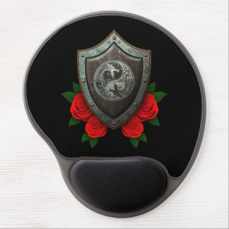 Worn Yin Yang Dragons Shield with Red Roses Gel Mouse Pad