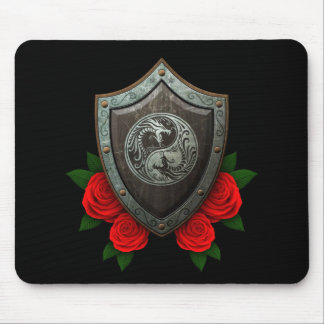Worn Yin Yang Dragons Shield with Red Roses Mouse Pad