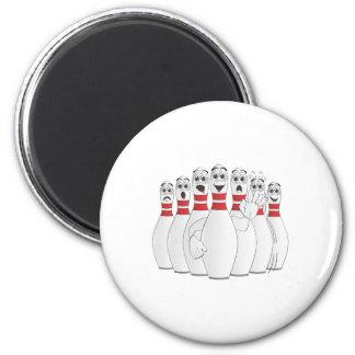 Worried Bowling Pins Cartoon 2 Inch Round Magnet