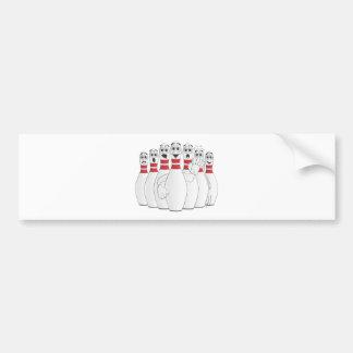 Worried Bowling Pins Cartoon Bumper Sticker