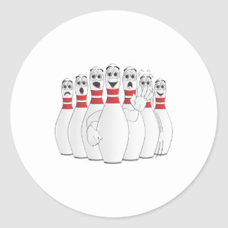 Worried Bowling Pins Cartoon Classic Round Sticker