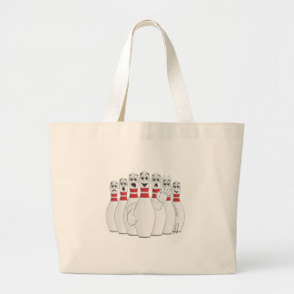 Worried Bowling Pins Cartoon Large Tote Bag