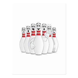 Worried Bowling Pins Cartoon Postcard