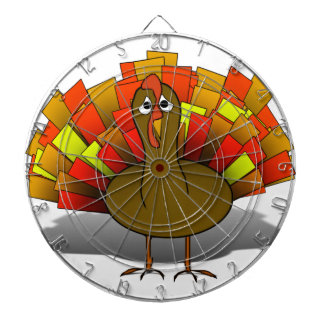 Worried Cartoon Thanksgiving Turkey Dart Board