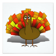 Worried Cartoon Thanksgiving Turkey 5.25x5.25 Square Paper Invitation Card