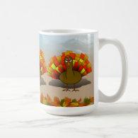 Worried Cartoon Thanksgiving Turkey Classic White Coffee Mug