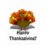Worried Cartoon Thanksgiving Turkey Postcard