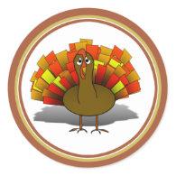 Worried Cartoon Thanksgiving Turkey Classic Round Sticker