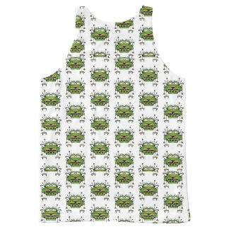 Worried Robot Character Illustration Pattern All-Over-Print Tank Top