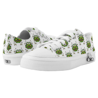 Worried Robot Character Illustration Pattern Low-Top Sneakers