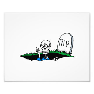 Worried skeleton grave RIP Photo Print