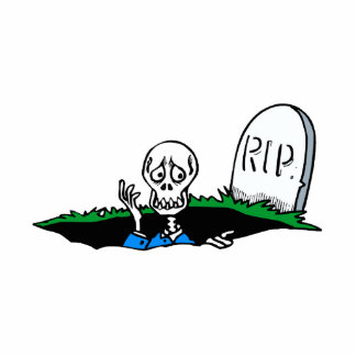 Worried skeleton grave RIP Cut Out