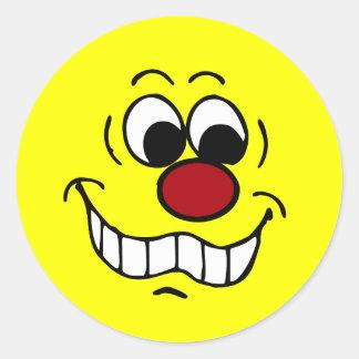 Worried Smiley Face Grumpey Classic Round Sticker
