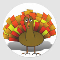 Worried Turkey Classic Round Sticker