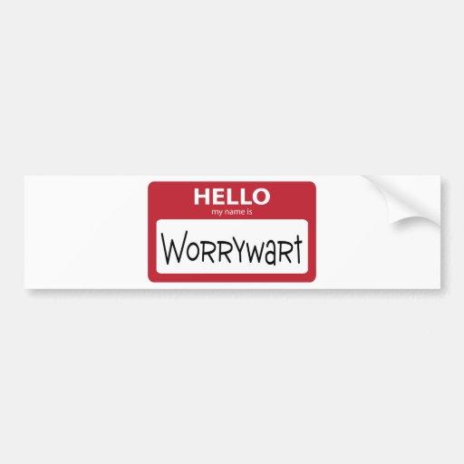 worrywart 001 etiqueta de parachoque