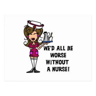 Worse Without a Nurse Postcard