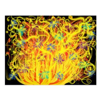 Worship Art Orange Yellow Gold Flames Blue Black Postcard
