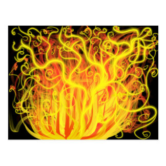 Worship Art Orange Yellow Gold Flames on Black Postcard