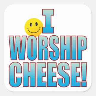 Worship Cheese Life B Square Sticker
