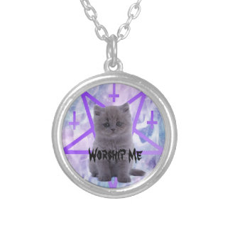 worship me silver plated necklace