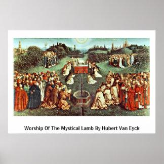 Worship Of The Mystical Lamb By Hubert Van Eyck Poster