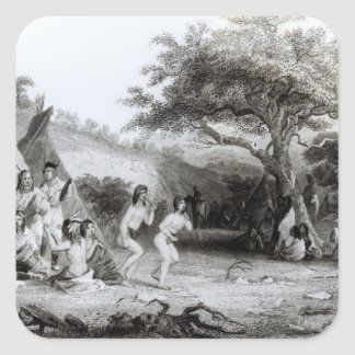 Worship of the Sun, engraved by R. Ehnshelwood Square Sticker