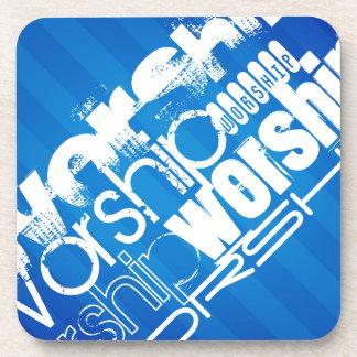 Worship; Royal Blue Stripes Drink Coasters