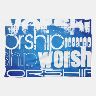 Worship; Royal Blue Stripes Hand Towels