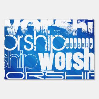 Worship; Royal Blue Stripes Yard Signs