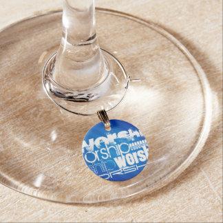 Worship; Royal Blue Stripes Wine Glass Charm