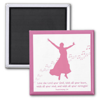 Worship siloutte square 2 inch square magnet