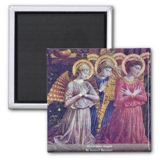 Worshipers Angels By Gozzoli Benozzo 2 Inch Square Magnet